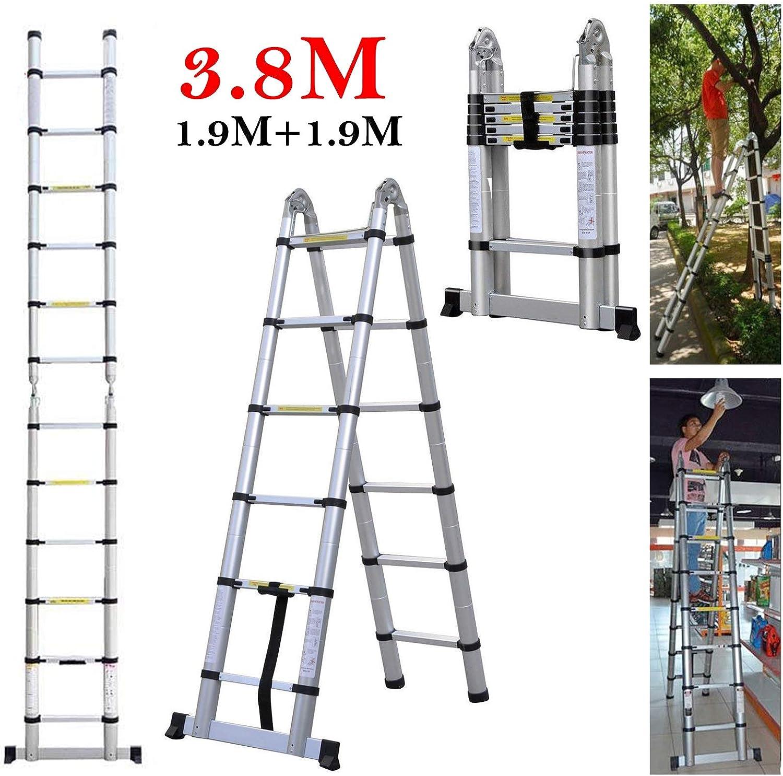 Escaleras multiusos ligeras, 3,8 m, telescópicas, rectas, con marco en A, para casa, oficina, interior, exterior, extensible 12 peldaños, capacidad de carga de 150 kg: Amazon.es: Bricolaje y herramientas
