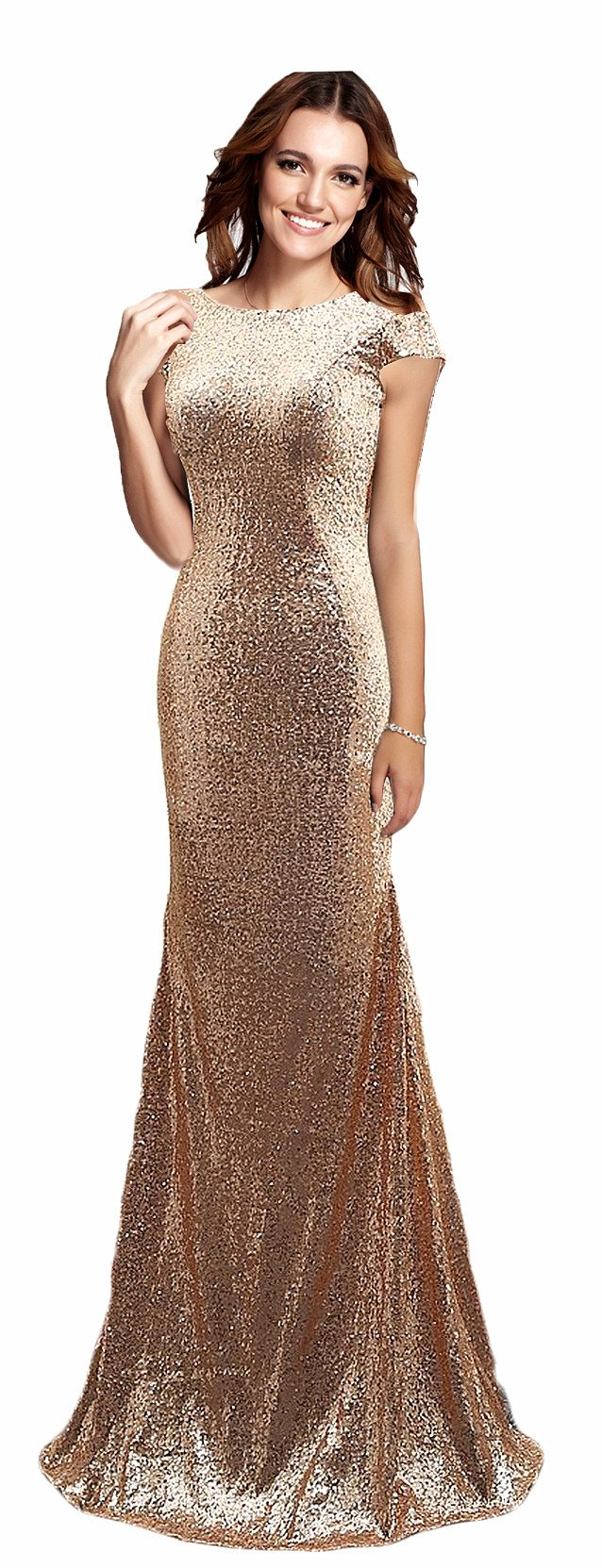 Rong store Women's Long Sequined Mermaid Bridesmaid Dresses Rose Gold US8