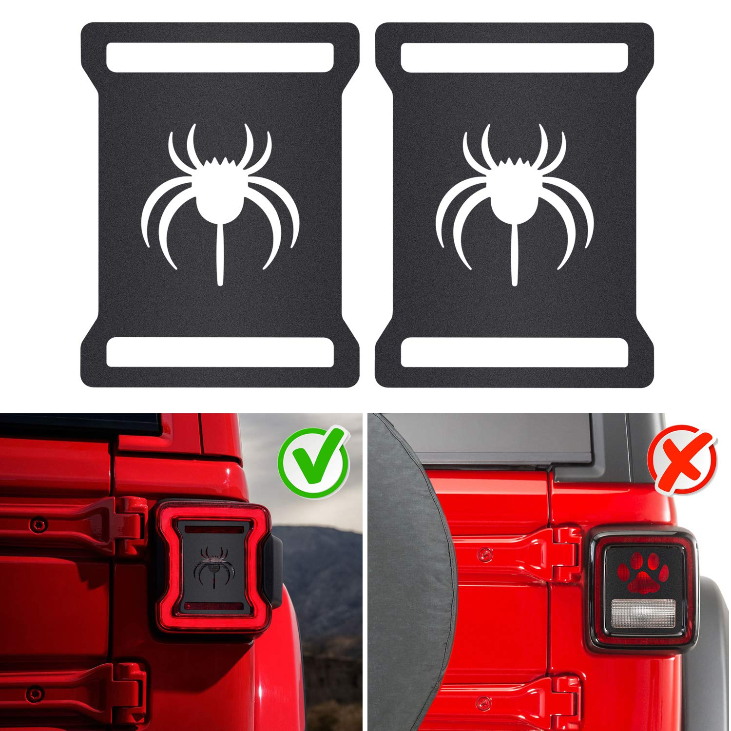Taillights Covers Tail Light Guard Rear Light Protector Cover Trim Matte Black Exterior Accessories for 2018 2019 Jeep Wrangler JL JLU Sunluway Spider Style