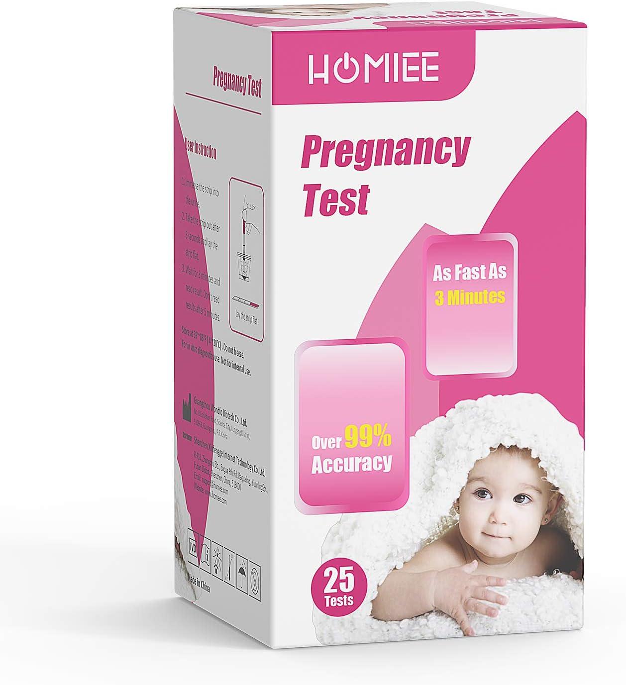 HOMIEE Kits de Tests Embarazo, Pruebas de Embarazo para Deteccion Temprana, Certificación Internacional y Alta Fiabiidad, Tiras de Prueba de Embarazo Temprano Fáciles de Llevar(25pc HCG)