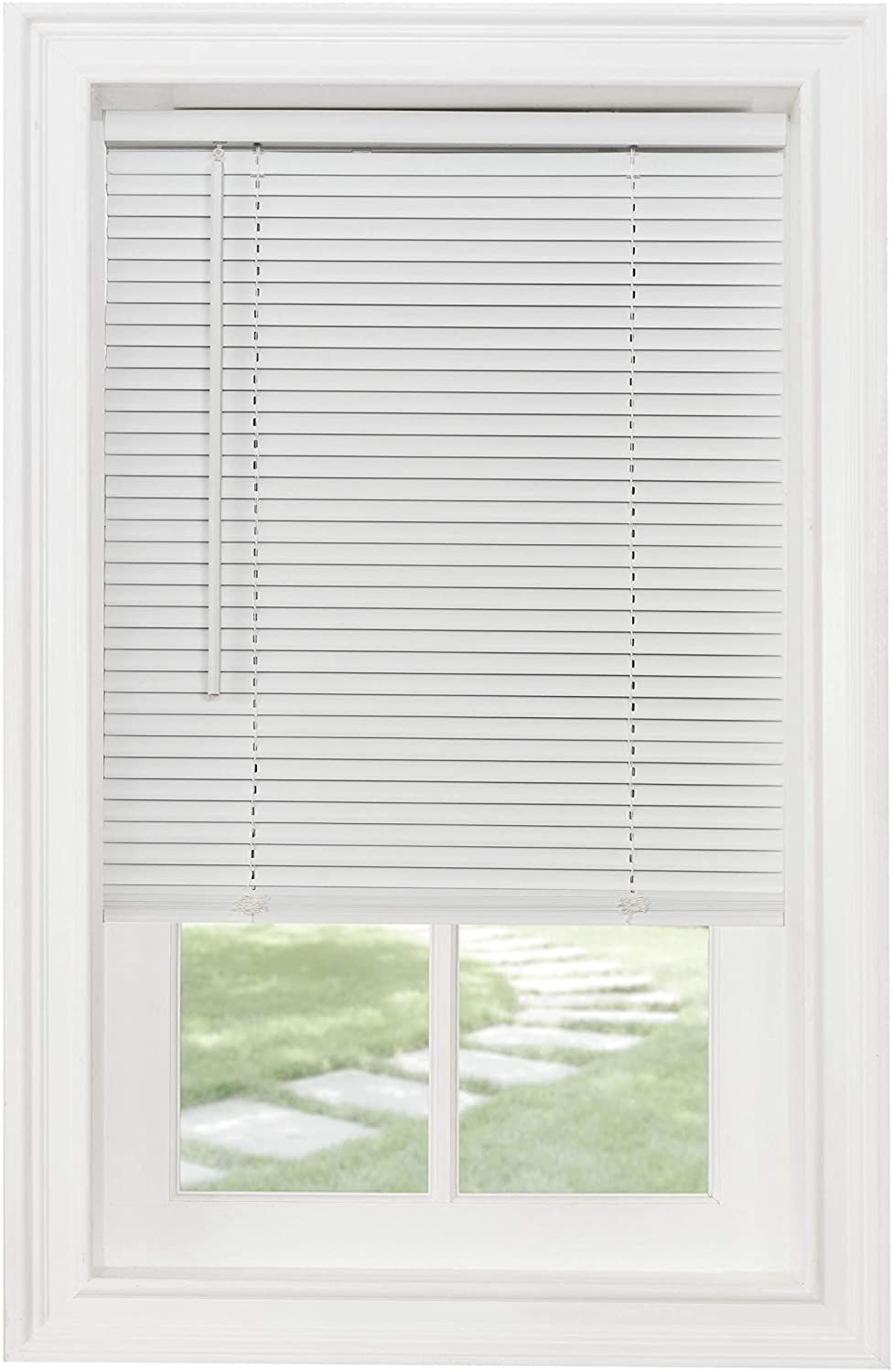 "Achim Home Furnishings Cordless GII Morningstar 1"" Light Filtering Mini Blind, Width 22inch, Pearl White"