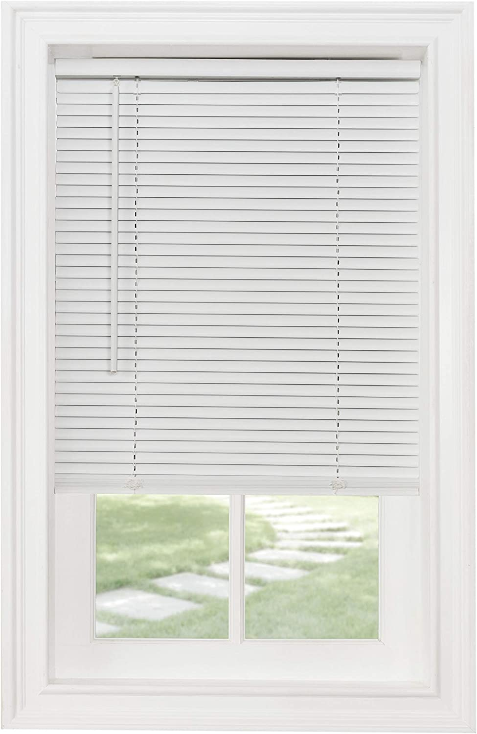 "Achim Home Furnishings Cordless Morningstar 1"" Light Filtering Mini Blind, Width 47inch, Pearl White"