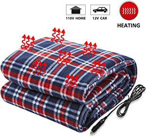 Big Ant Electric Car Blanket, 12V Heated Travel Blanket Heating Blanket for Car Auto Supplies RV Comfortable Heating Blanket with AC Adapter for Home Office(Blue and Red)