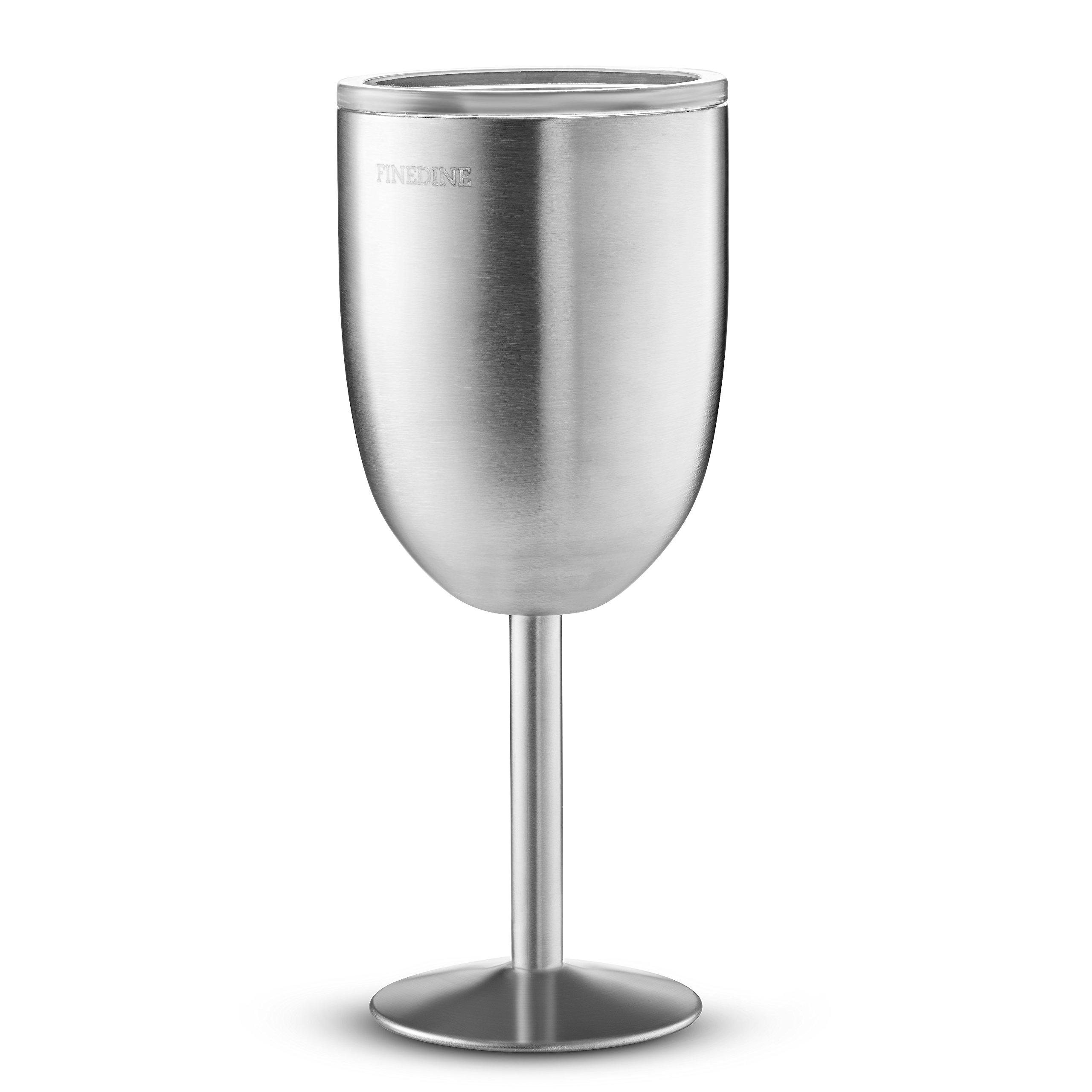 ea97454397b FineDine Premium Grade 18/8 Stainless Steel Wine Glasses 12 Oz. Double-Walled  Insulated Unbreakable Goblets (Set of 2) Stemmed Wine Glass BPA-Free Leak  ...