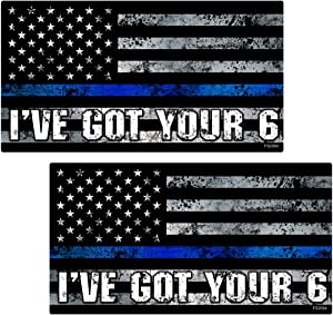 AZ House of Graphics Thin Blue Line I've GOT Your 6 Flag Stickers 2 Pack