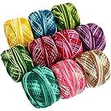 10 Bobines de Fil de Coton à Rayures Multicolores pour Crochet par CurtzyTM- 950 Mètres- Tricot et Dentelle