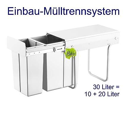Made for us 30L Einbau-Mülleimer 10L+20L Küchen-Abfalleimer 2er  Müll-Trennsystem 30 Liter Abfallsammler zur 2-Fach Abfall-Trennung im  Unterschrank ...