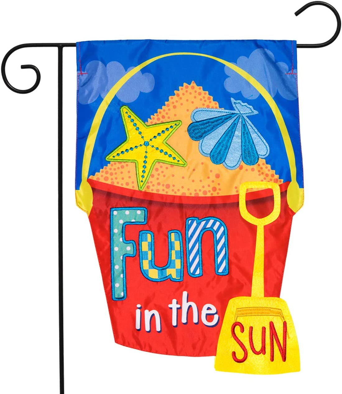 Briarwood Lane Fun in The Sun Applique Summer Garden Flag Sand Bucket 12.5