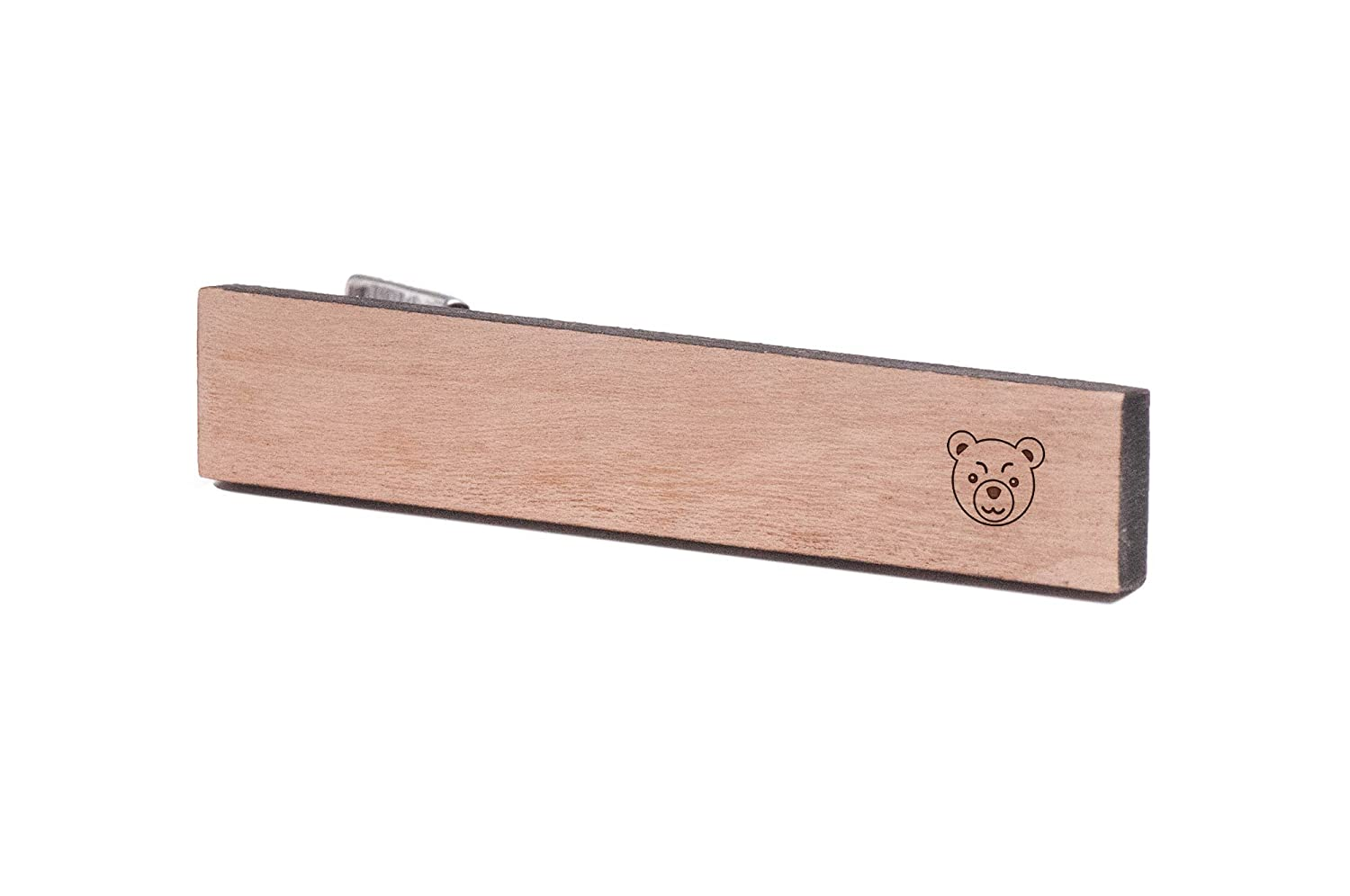 Wooden Accessories Company Wooden Tie Clips with Laser Engraved Angry Bear Design Cherry Wood Tie Bar Engraved in The USA