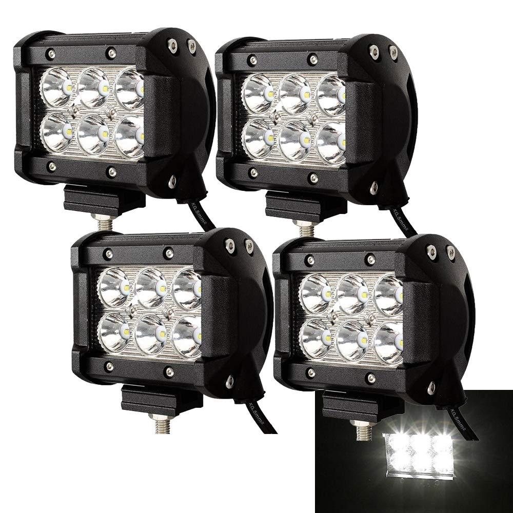2 x 18W LED Arbeitsscheinwerfer 1620 Lumen Wei/ß Scheinwerfer 12V 24V Offroad Flutlicht Reflektor Worklight Arbeitslicht SUV UTV ATV Arbeitslampe Bagger Traktor