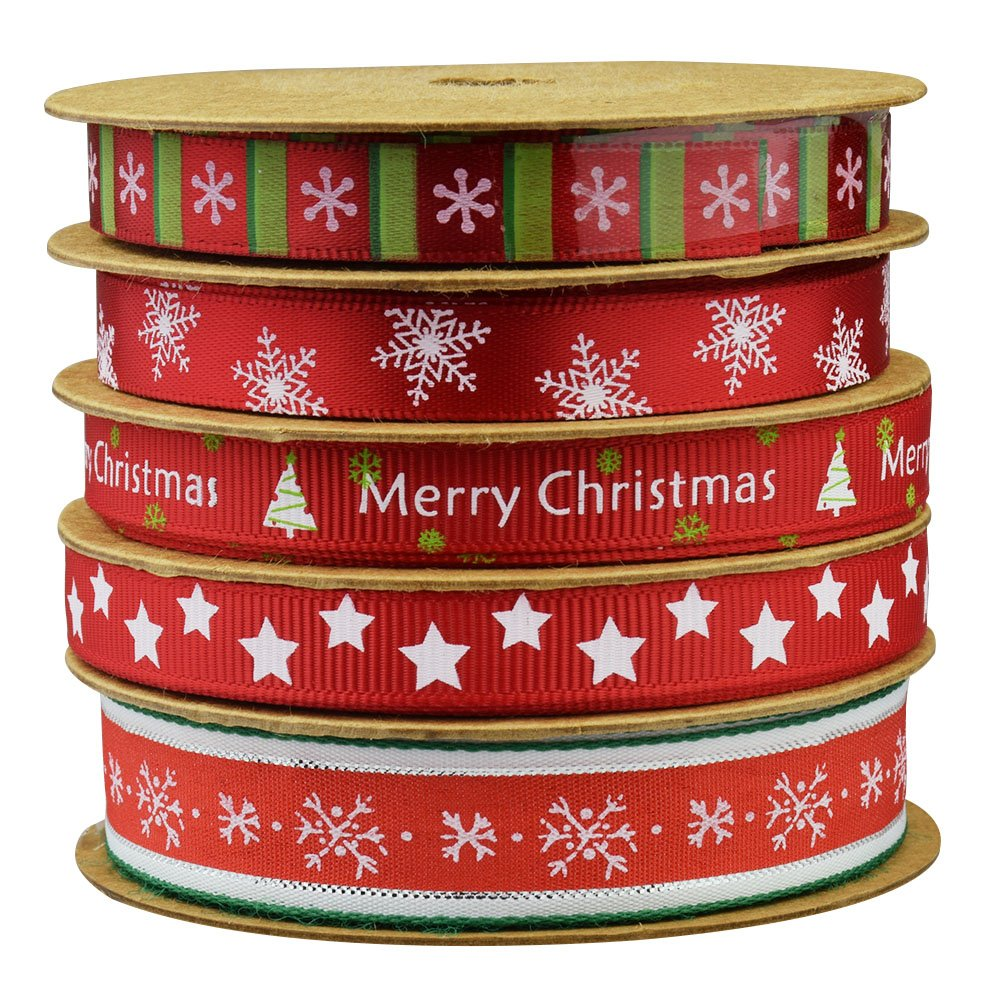 Fowod Christmas Winter Ribbon,mixed 0.39 inch and 0.59 inch, 16 feet each roll (Red) ELETA 4336858628