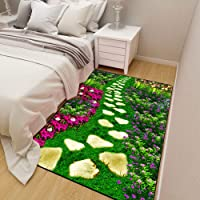 Leoie 3D Flores Plantas Impresión Alfombra Alfombra Antideslizante para niños Decoración de Sala de Estar Junto a la Cama
