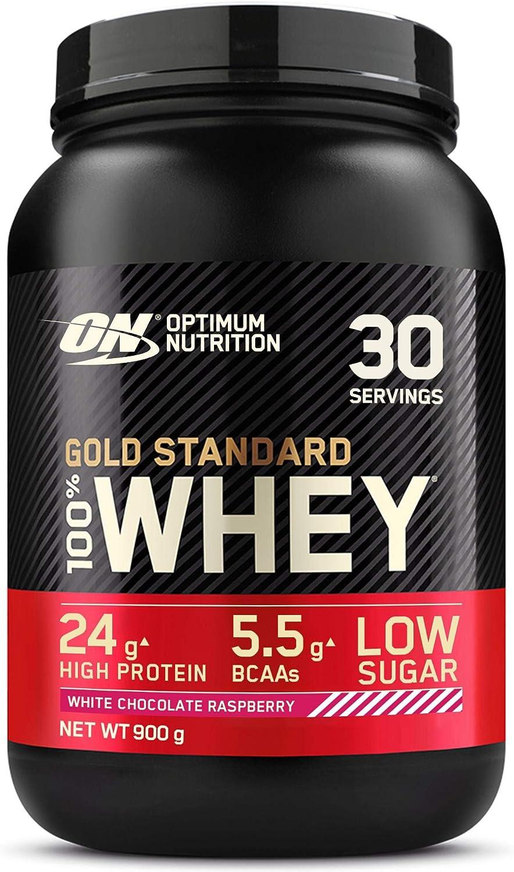 Optimum Nutrition Gold Standard 100% Whey Proteína en Polvo, Glutamina y Aminoácidos Naturales, BCAA, Chocolate Blanco y Frambuesa, 30 Porciones, ...