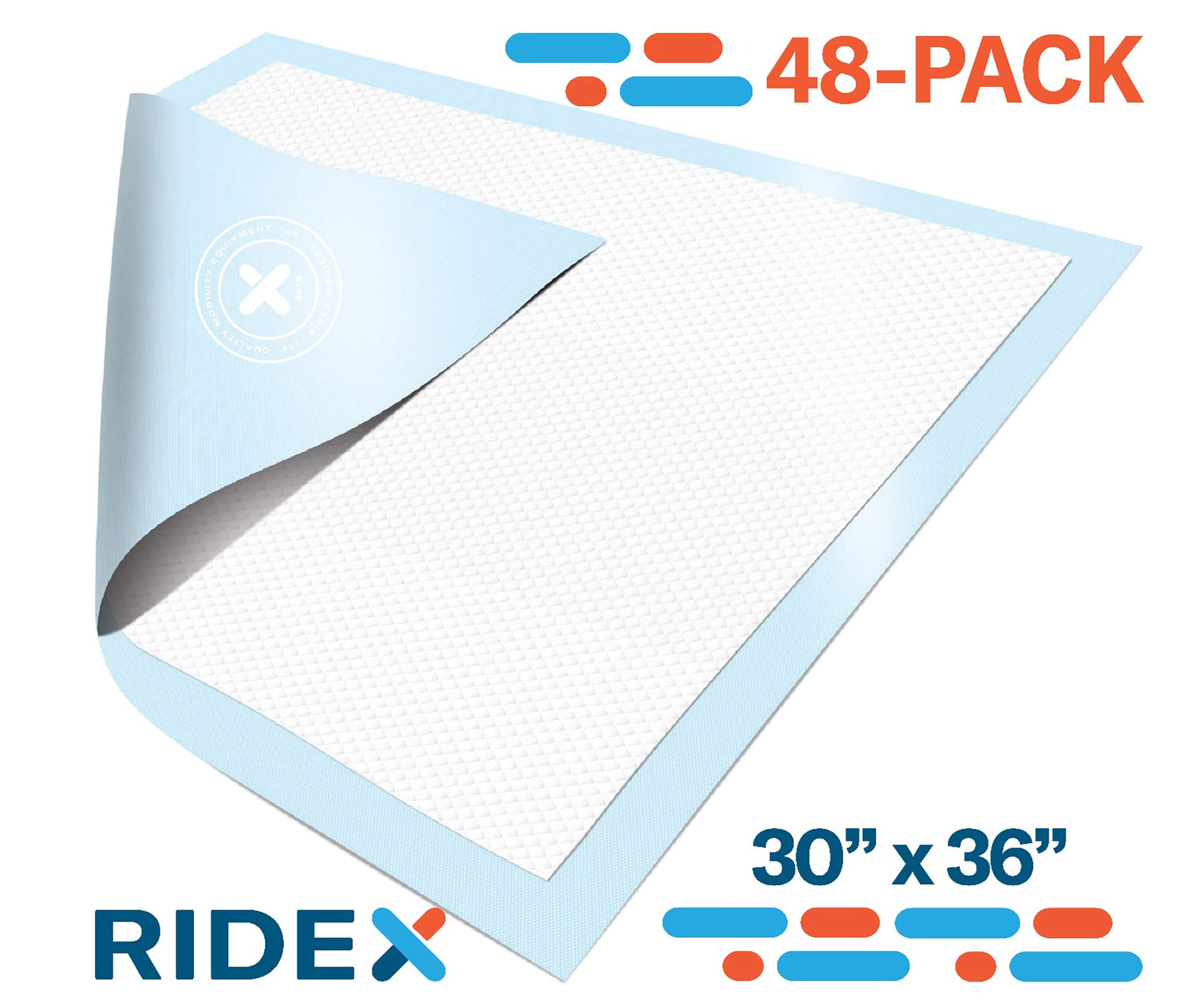 Incontinence Bed Pads [48 Pack] Underpads 30 x 36 Disposable Ultra-Heavyweight Super Absorbent & Waterproof, Patient Repositioning [375 lbs.] Maximum Strength Breathable Backsheet for Skin Protection