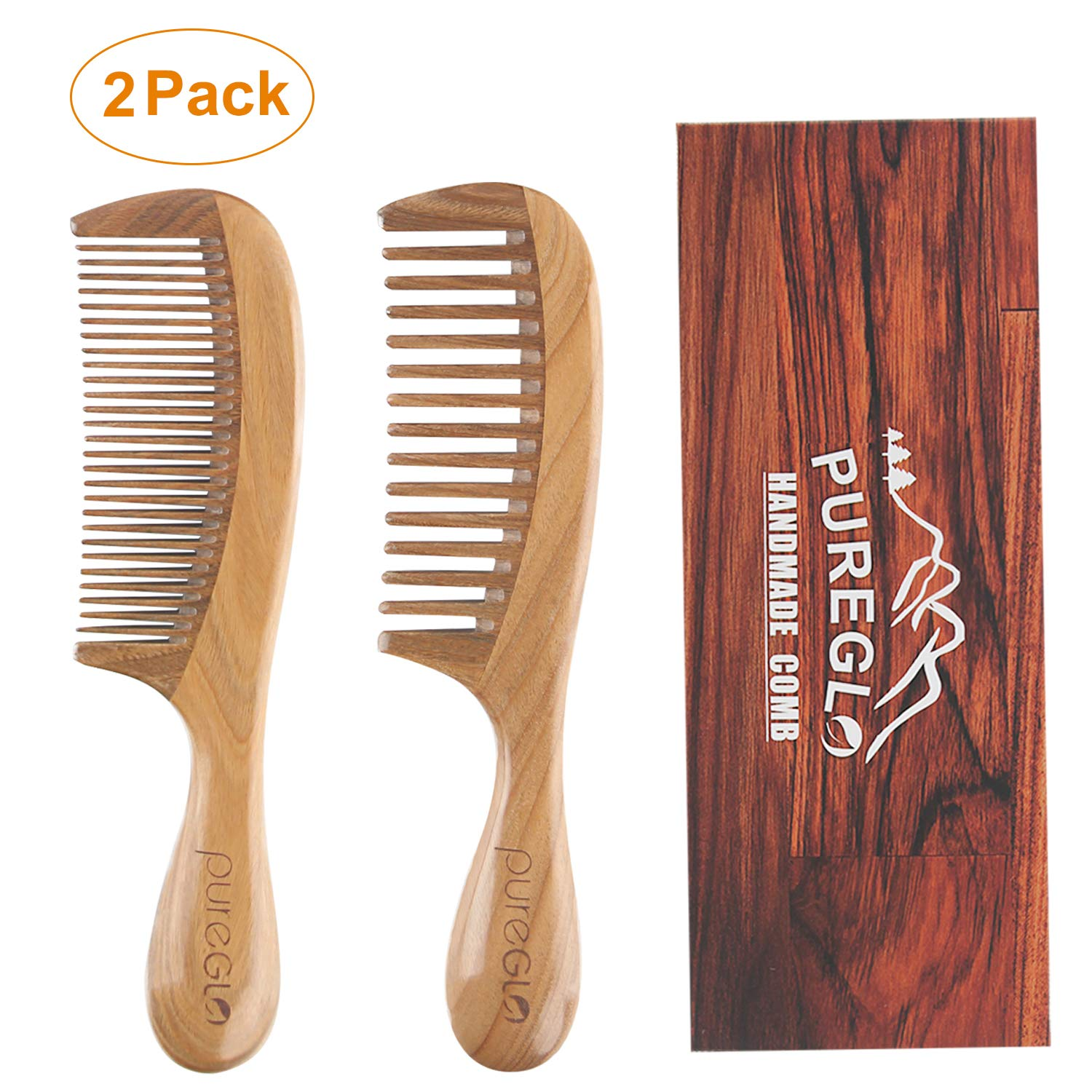Handmade Wooden Comb Set [Gift Box] - pureGLO Natural Green Sandalwood Anti-Static Fine & Wide Tooth Hair Combs for Men Women and Kids by pureGLO