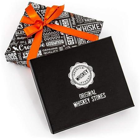 Piedras de Whiskey Premium, 12pzas de Mármol y Bolsa. Whiskey, Bourbon, Cognac, Scotch, Gin, Vino. Cubos de Mármol Reutilizables. Regalo de Cumpleaños para Amantes del Whiskey.