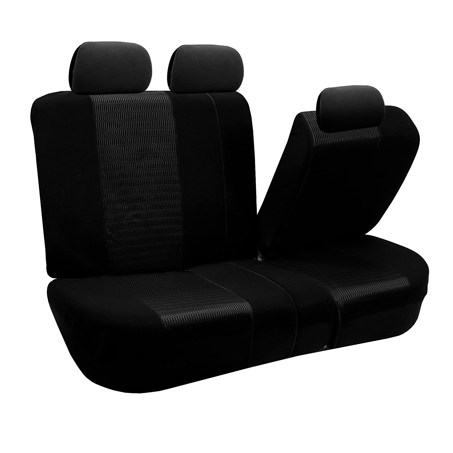 Black FH Group Universal Fit Full Set Trendy Elegance Car Seat Cover, FB060BLACK115 FH-FB060115, Airbag compatible and Split Bench, Fit Most Car, Truck, Suv, or Van