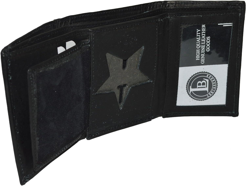 Tri-fold Leather Wallet Rounded Oval Shape Police Badge Holder Black 4.1//2x3.1//2
