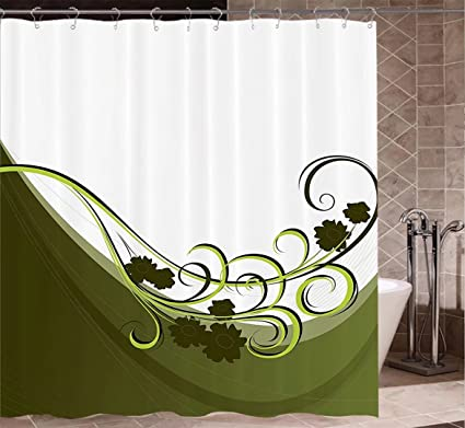 Amazon.com: Olive Green Shower Curtains Fabric Extra Long Wedding ...