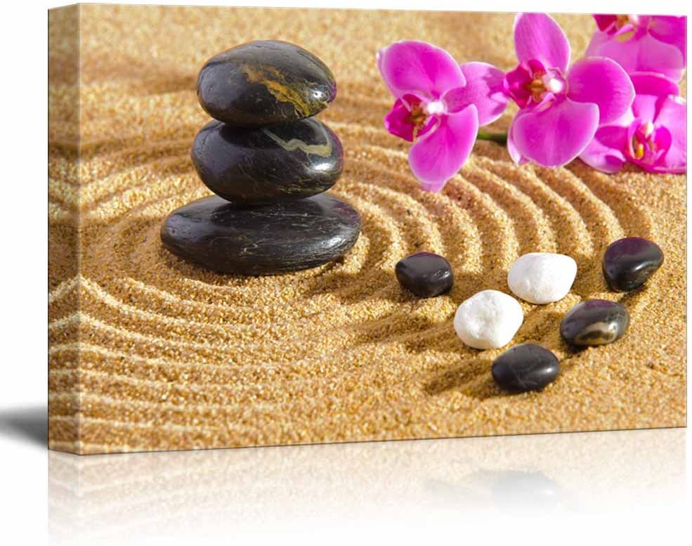 Canvas Prints Wall Art - Japanese Zen Garden with Stacked Stones   Modern Wall Decor/Home Decoration Stretched Gallery Canvas Wrap Giclee Print. Ready to Hang - 24