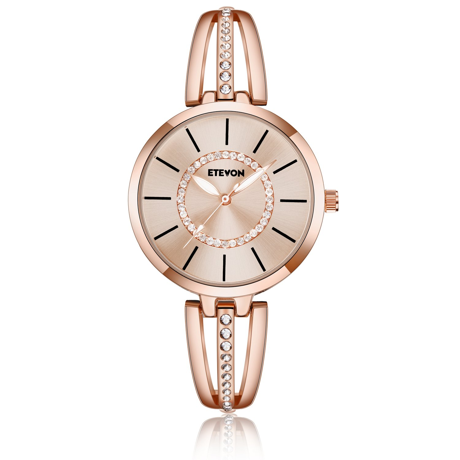 ETEVON Women's 'Crystal Bridge' Quartz Analog Watch with Luminous Pointers and Rose Gold Bracelet Waterproof, Fashion Dress Wrist Watches for Women