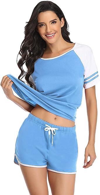 Doaraha Pijamas para Mujer Verano 100% Algodón Ropa de Dormir Camisetas de Manga Corta y Pantalones Cortos Dos Piezas