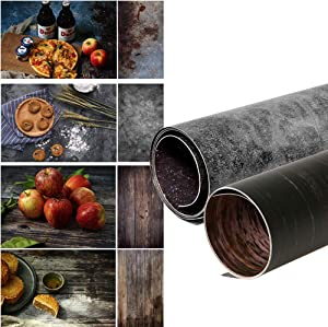 Selens Double Sided Photography Backdrop, 2 Pack Wood & Retro Vintage Cement Wall Texture Flat Lay Background Paper for Food, Small Product Photography Props—22x35 Inch
