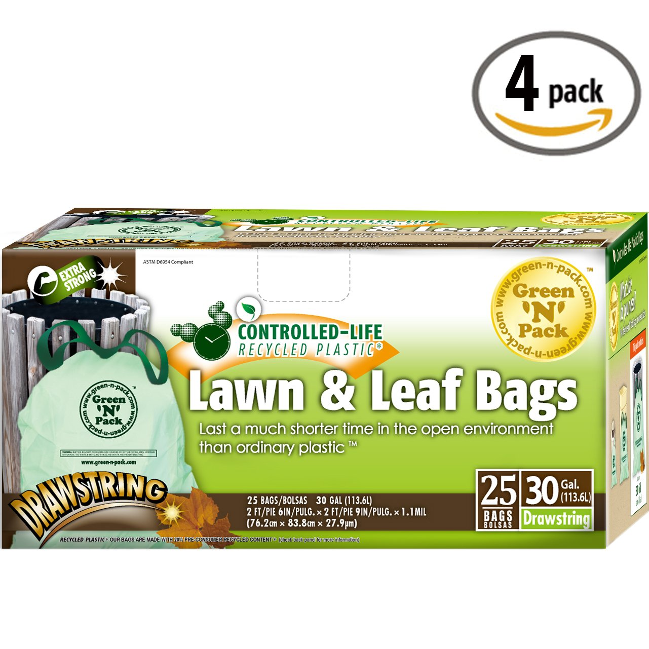 Green-n-Pack Lawn & Leaf Bags, Drawstring, 30 Gallon, 25-Count 002183