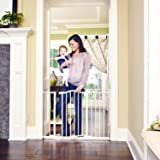 """Toddleroo by North States 46.8"""" wide Wide Portico Arch Baby Gate: Heavy duty metal safety gate with one hand operation. Press"""