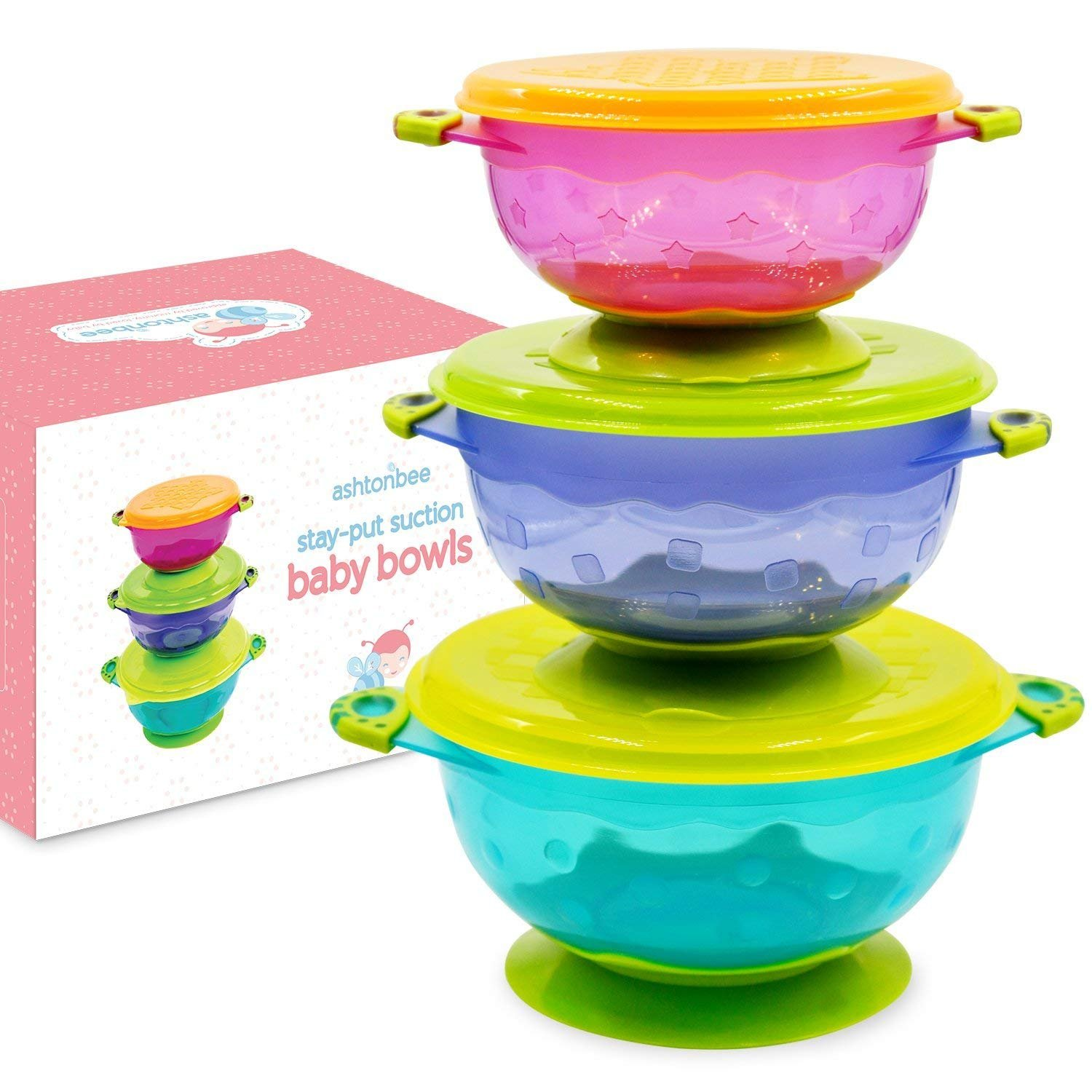 Baby Bowls with Suction - Suction Bowl for Toddlers, Set of 3 Stackable Feeding Bowls with Lids by Ashtonbee