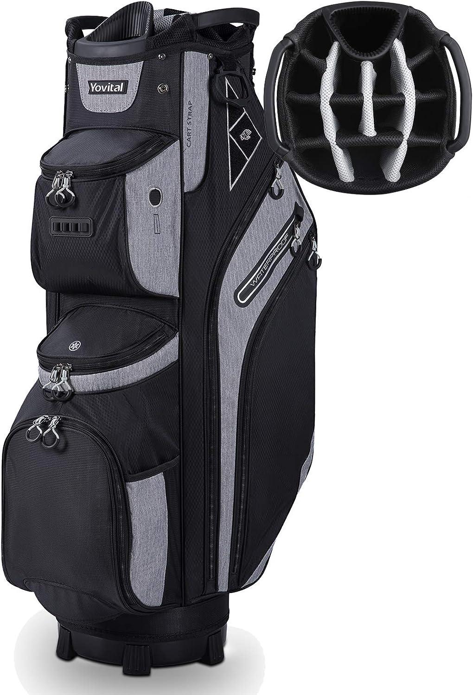 Yovital 14 Way Golf Cart Bag for Push Bag Classy Design Full Length with Cooler, Rain Hood, Putter Well Black