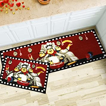 MAXYOYO 2 Pieces Fat Chefs Kitchen Floor Mats Runner Rug Set,Kitchen Area  Rug,