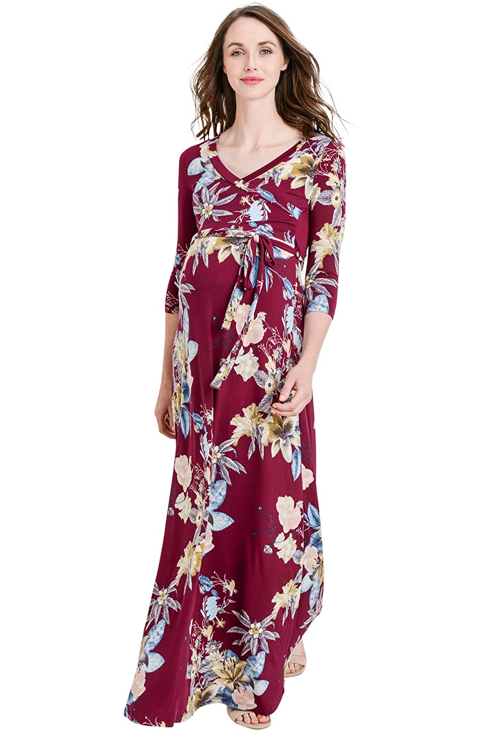 Wine Flower Hello MIZ LaClef Women's Floral Print Draped 3 4 Sleeve Long Maxi Maternity Dress