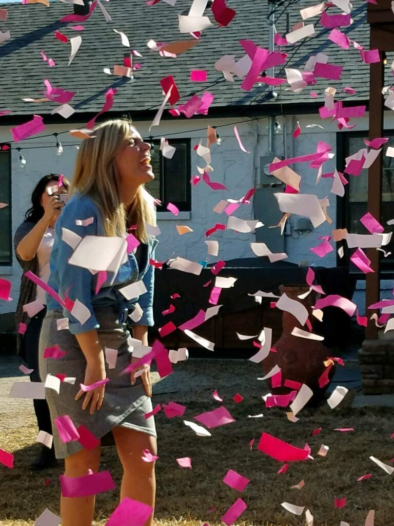 Gender Reveal Confetti Cannons Package (2 Pink & 2 Blue) | Pink and Blue Confetti Poppers | 8 Free Gender Reveal Party Balloons by Gender Reveal Surprise (Image #6)