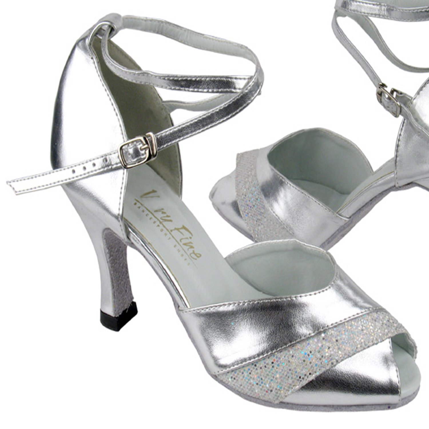 Ballroom Salsa Latin Clubing Latin Wedding 50 Shades of Silver Dance Dress Shoes 1