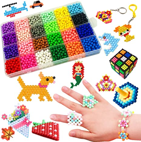 24 Colors 3600pc DIY Fuse Beads Water Sticky Beads Art Craft Toys Kids