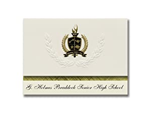 Signature Announcements G. Holmes Braddock Senior High School (Miami, FL) Graduation Announcements, Presidential Basic Pack 25 with Gold & Black Metallic Foil seal