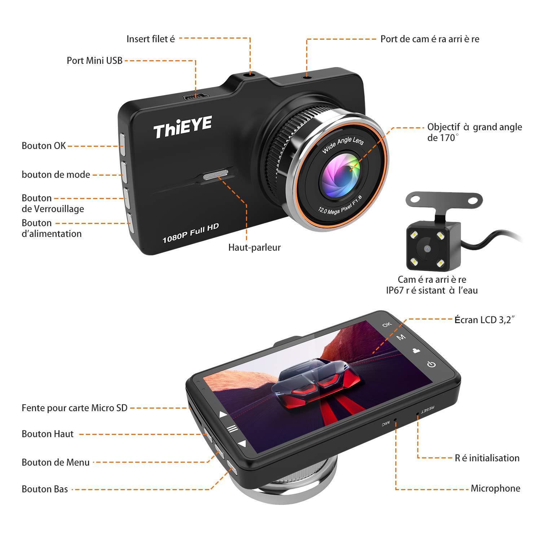 WDR Cam/éra de Voiture Carte SD 32Go Incluse D/étection de Mouvement Thieye Dashcam 3.2 Pouces Full HD 1080P Grand Angle 170/° Vision Nocturne Avant Arri/ère Double Camera Voiture avec Capteur G