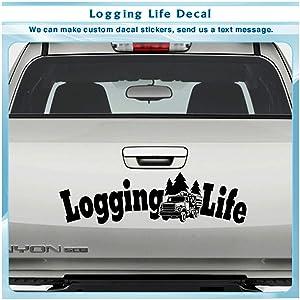 Logging Life Timber Tree Truck Wood Tailgate Art Decor Sticker Vinyl Decal 045 (Purple)