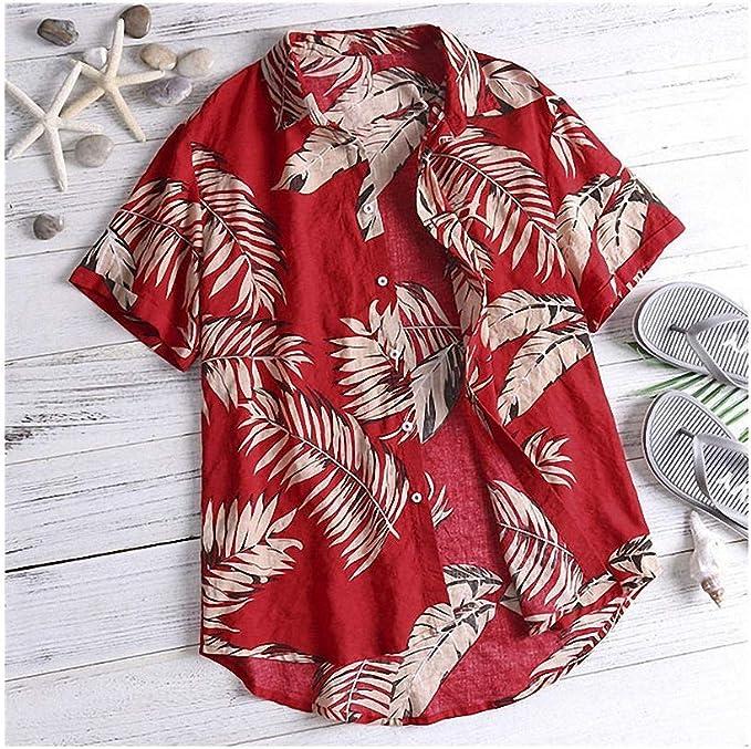 Abetteric Men Short Sleeve Summer Printed Square Collar Beachwear Work Shirt
