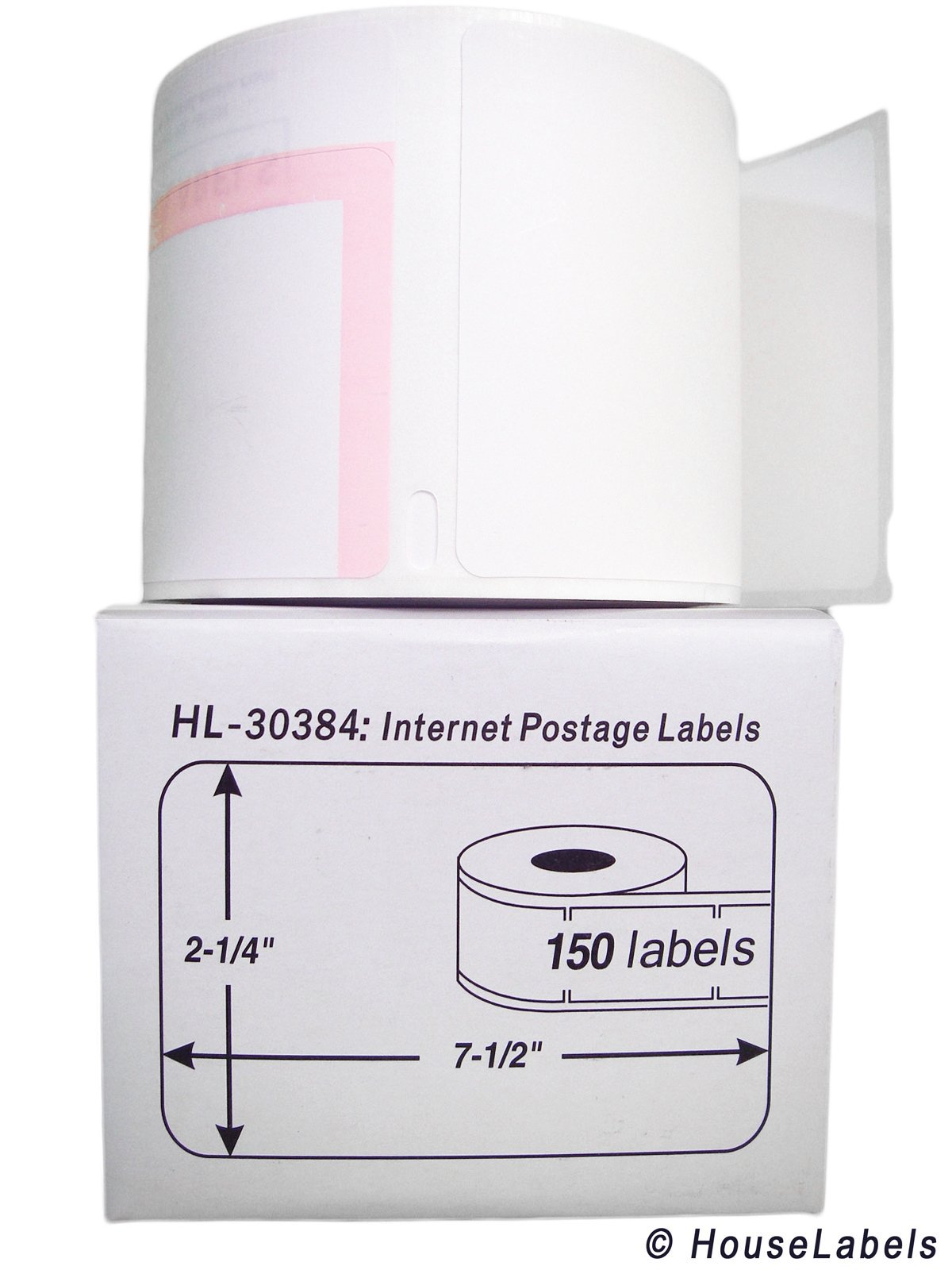4 Rolls; 150 Labels per Roll of DYMO-Compatible 30384 2-Part Internet Postage Labels (2-1/4'' x 7-1/2'') -- BPA Free!