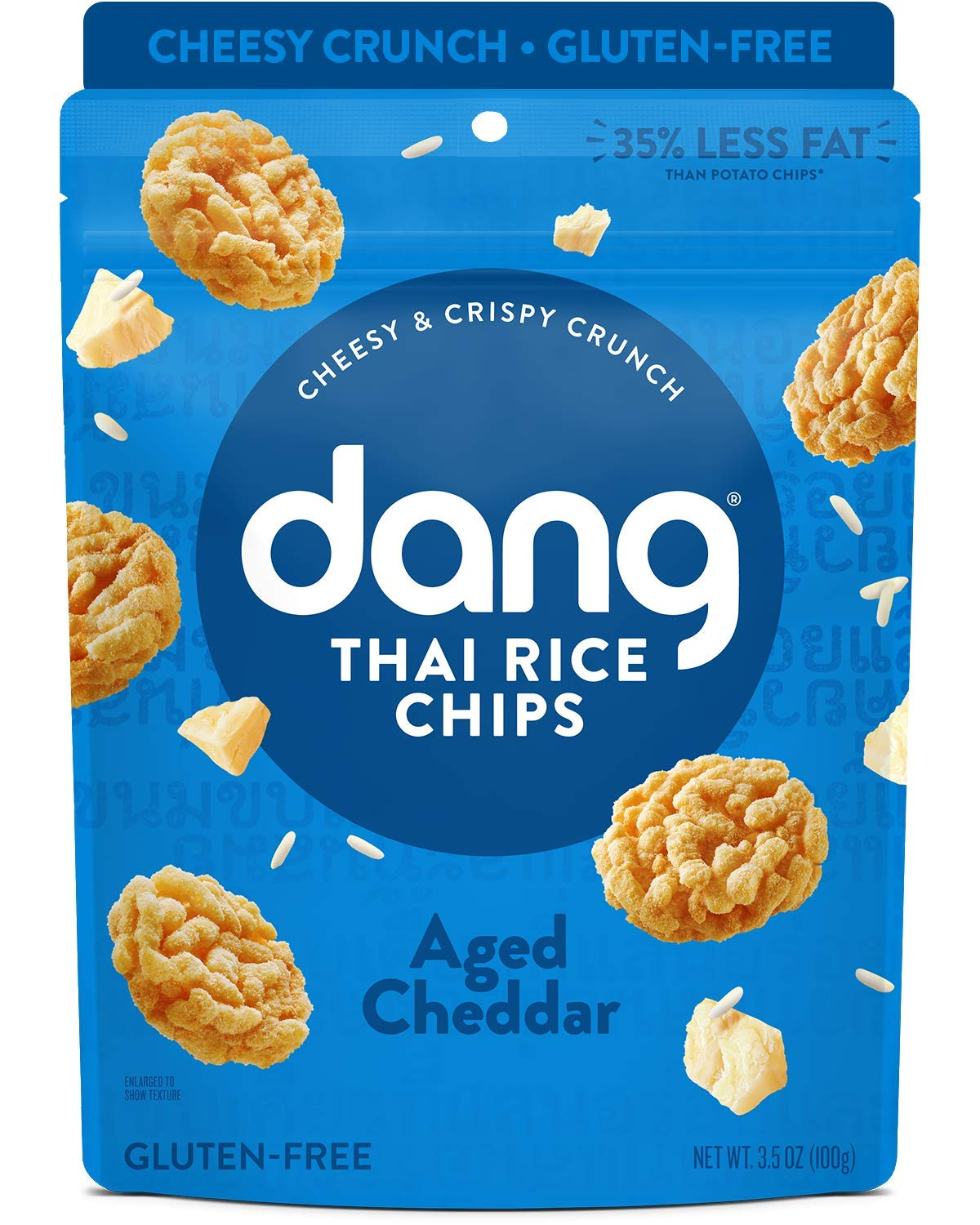 Dang Thai Rice Chips | Gluten Free, Soy Free & Preservative Free Rice Crisps, Healthy Snacks Made with Whole Foods (Aged Cheddar, 3.5 Ounce (Pack of 6))