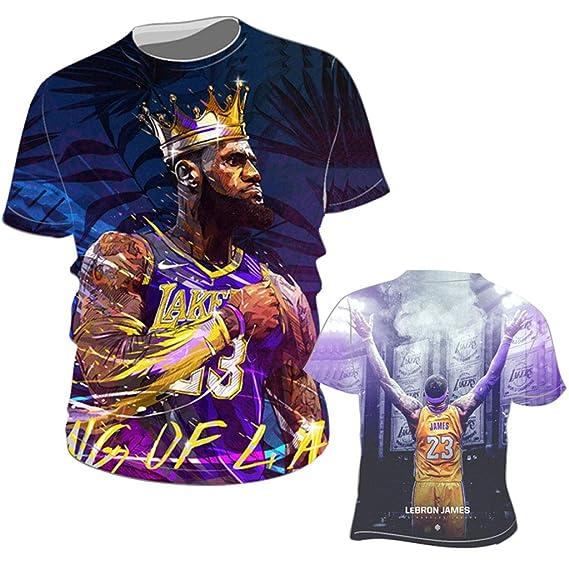 L.A. Lakers Lebron James Manga Corta Camiseta Hombres Calle ...