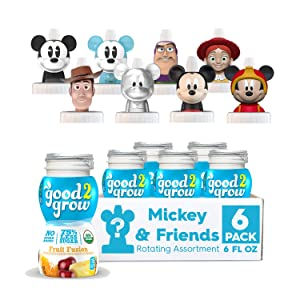 good2grow Organic Mickey & Friends Rotating Character 6 Pack 75% less sugar Fruit Fusion Juice, 6-Ounce Spill-proof Character Top Bottles, USDA Organic, Non GMO, No Sugar Added Character Tops May Vary