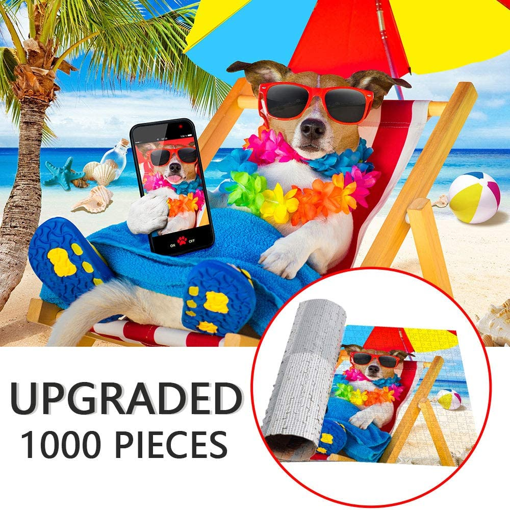 Fun Dog Puppy Cat Large Puzzle Game Toys Gift Artwork Fowecelt Pet Jigsaw Puzzle 1000 Piece for Adult Teens