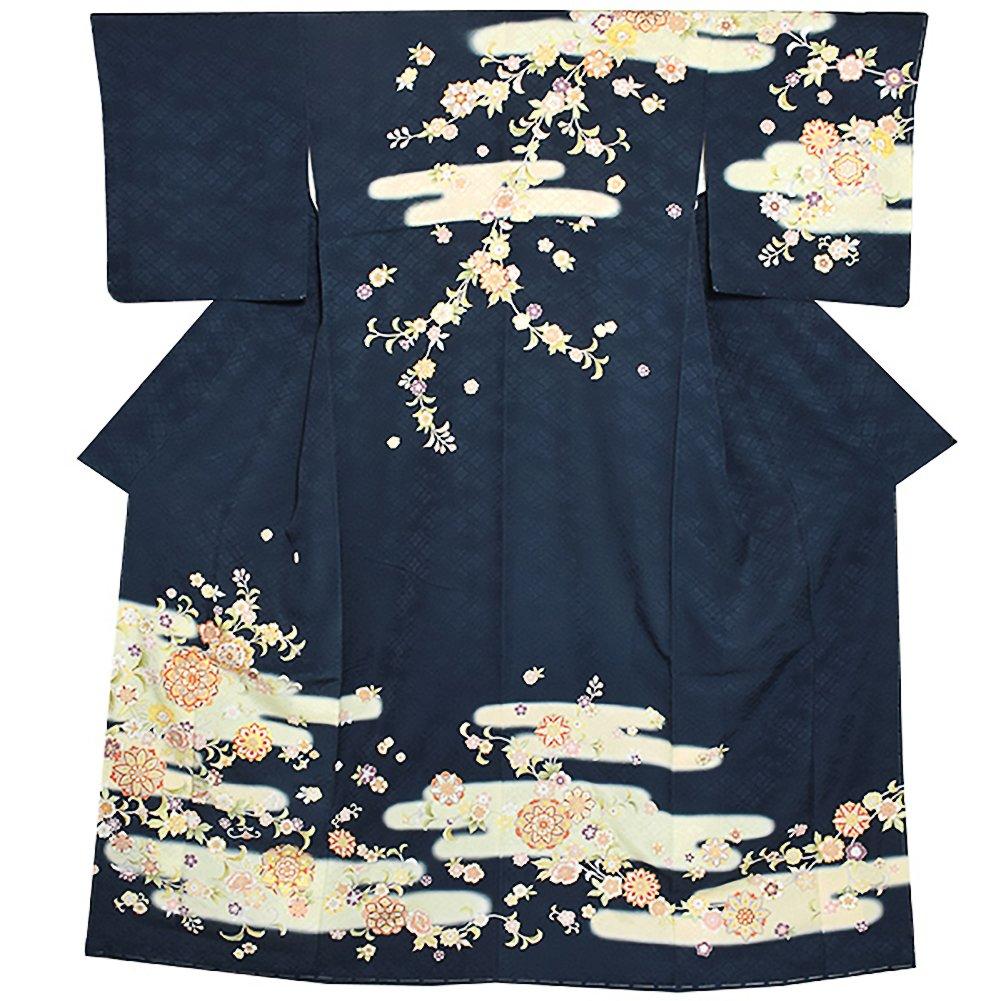 [ 京都きもの町 ] お仕立て上がり 高級プレタ訪問着単品「鉄納戸色 霞に唐華」礼装正絹訪問着 B078YJNZJS