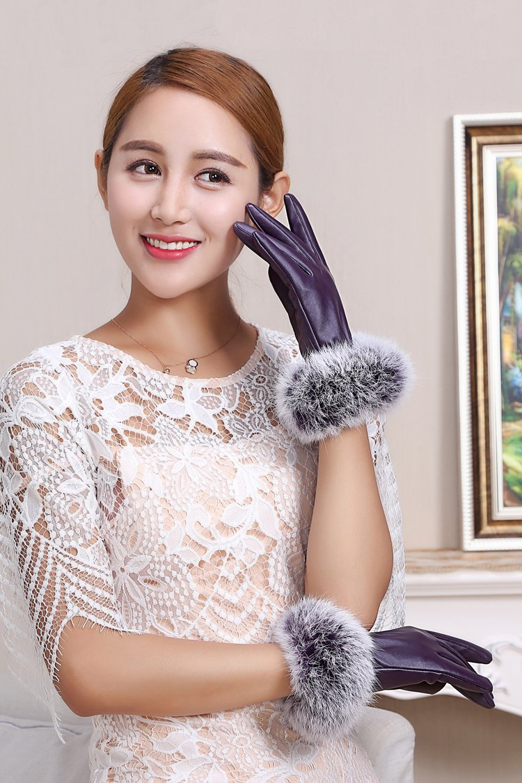 Generic Leather_ glove gloves women girls winter _Korean_style_of autumn lovely students _riding_plus_velvet_thick_warm_touch_screen_cycling_ winter _true_rabbit_hair