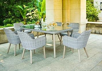 LuxuryGarden - Mesa de jardín de ratán con 6 sillas silla ...