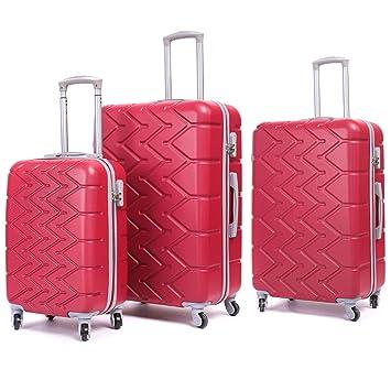 Bangbei - Equipaje de Mano Rojo Rojo Set da 3 pezzi(S+M+L): Amazon.es: Equipaje
