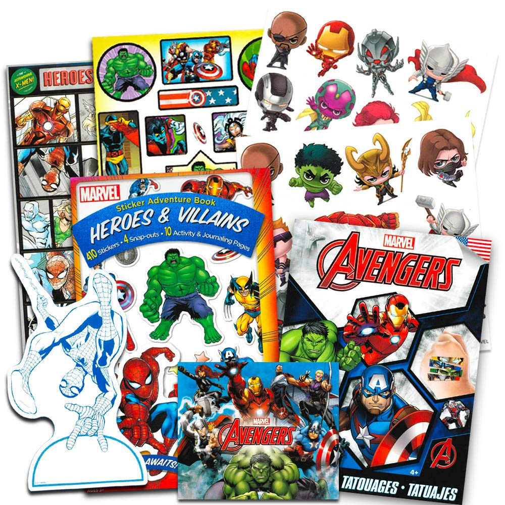 Marvel Avengers Stickers and Tattoos Party Favor Pack (Over 200 Stickers and 50 Temporary Tattoos)